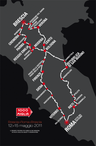 Volg ons tijdens de Mille Miglia van 11 t/m 15 mei 2011!
