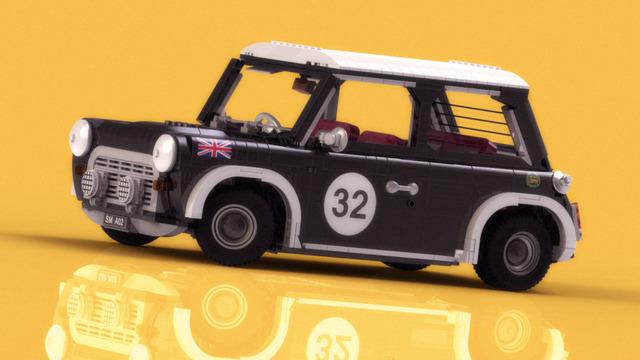 Mini Cooper. Van Lego blokjes.